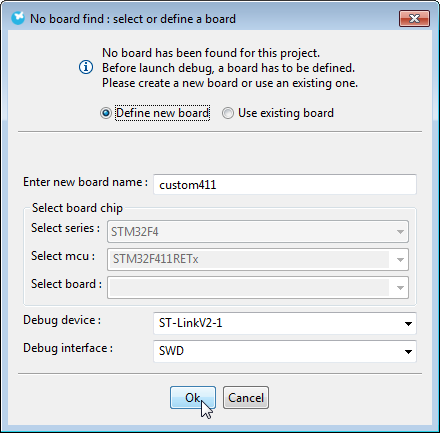 Debug Configuration Automatic Board Selection