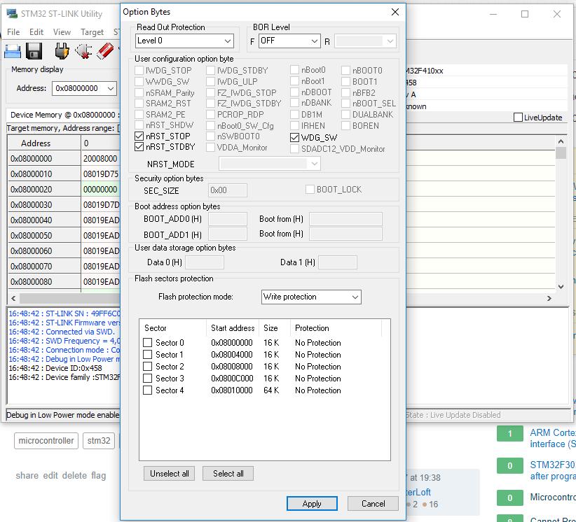 OpenSTM32 Community Site | Write option bytes